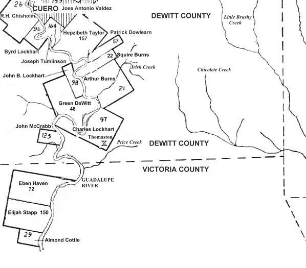Documents Texas Dewitt Colony Land Grants map 1 of 2 d Our