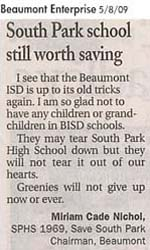 Letter to the Editor - submitted by Miriam Cade Nichol