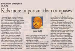 Jamie Smith promised the Save South Park contingency that he would support saving the school, and we believed him and supported his election. So much for campaign promises!!!