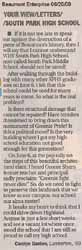 Letter to the Editor - submitted by Carolyn Gaston