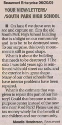 Letter to the Editor - submitted by Maudie Henderson