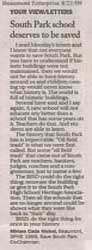 Letter to the Editor - by Miriam Cade Nichol 8/21/09