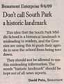 Letter to the Editor by David Pete 9/6/09 - with comments, including explanation about Historical Marker designations by BMTBRD