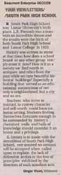 Letter to the Editor - submitted by Ginger Wood